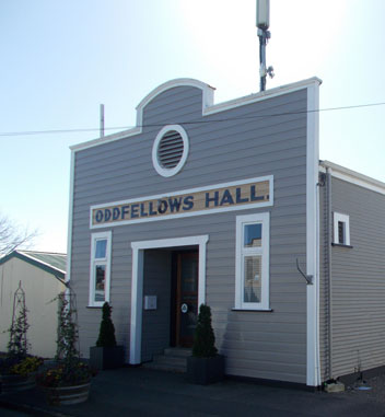 Greytown Heritage Sign Trail at a historic building Oddfellows Hall, Hastwell St